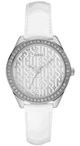 Guess W0560L1 Women's White Leather Bracelet With White Analog Dial Watch