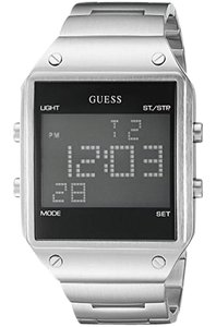Guess U0596G1 Men's Silver Steel Bracelet With Black Digital Dial Wat