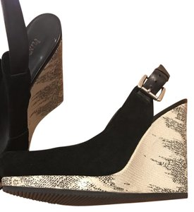Luxury Rebel Snakeskin Buckles Black and ivory Wedges