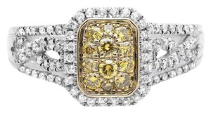 Other 18K White Gold Rectangle Frame Canary and White Diamond Ring 0.65ct