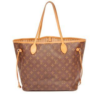 Louis Vuitton Neverfull Canvas Leather Neverfull Mm Tote in Monogram