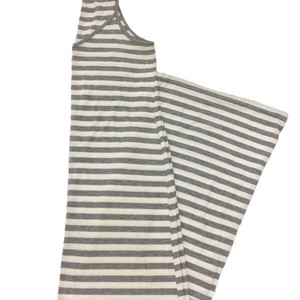 GREY/ WHITE Maxi Dress by Poof! Apparel Striped Maxi Sleeveless Spring Summer