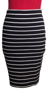 J.O.A. Pencil Striped Back Zip Woven Lined Skirt navy/white strip