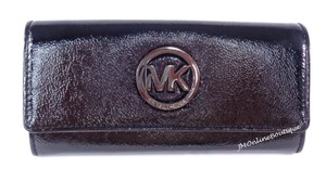 Michael Kors Michael Kors Women's MK Logo Black Patent Leather Wallet or Clutch NEW
