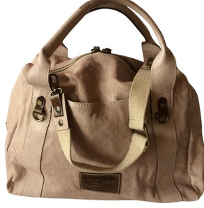 Cavalcanti Leather Heavy Fabric Strap Antique Bronze Satchel in Blush