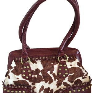 Gianni Bini Tote in Dark Red/Wine with calf hair and antique studs