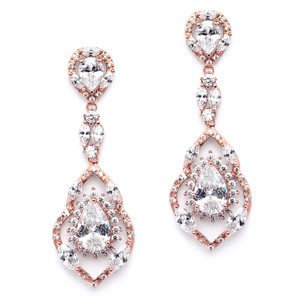 Stunning Rose Gold Crystal Dangle Wedding Earrings