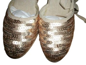 Circa Joan & David Espadrille Sequin Beige Wedges