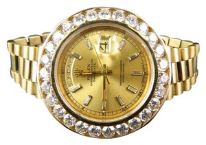 Rolex 18K Yellow Gold Mens Large Diamond Solid Rolex Day-Date Diamond Watch