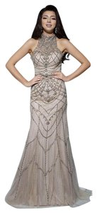 Tony Bowls Studded Reception Pageant High Neck Low Back Dress