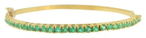 Other 1.7 ct Genuine Colombian Emerald Bangle Bracelet in 18k Yellow Gold