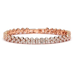 Rose Gold Brilliant A A A Crystal Petite Bridal Bracelet