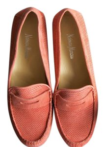 Neiman Marcus Loafer Suede Coral Flats