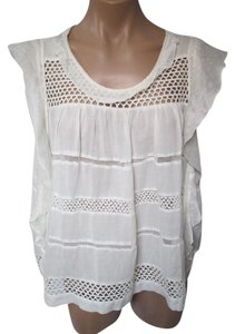 Isabel Marant Cotton Blend Sleeveless Size 8 Top Off White