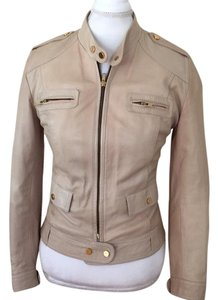 Leonardo Da Vinci cream tan Leather Jacket