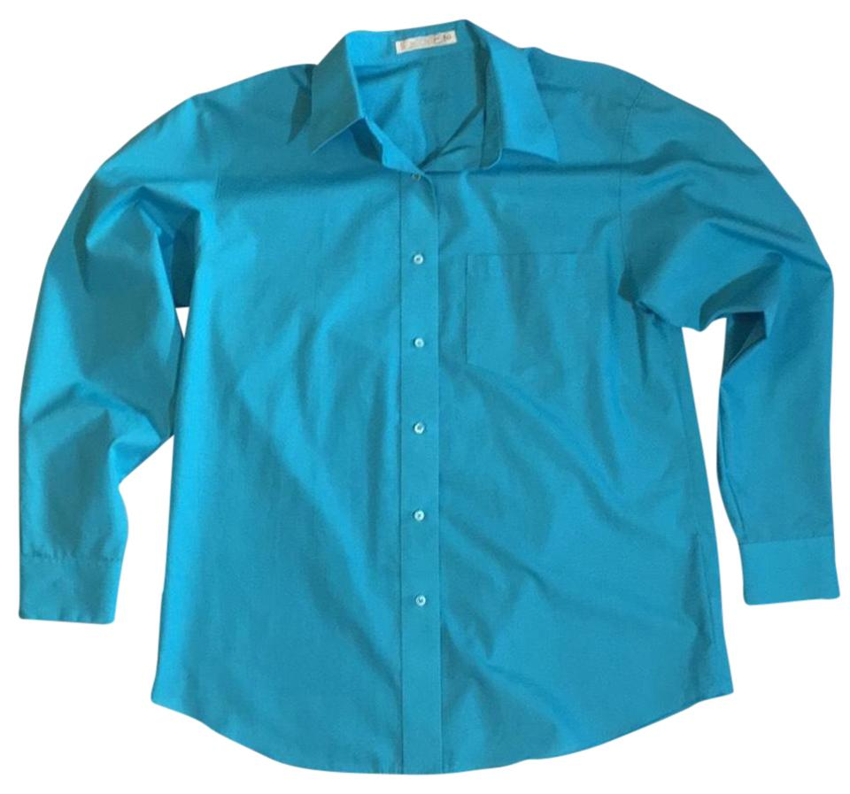 Foxcroft turquoise no iron blouse shirt button down top for Best no iron shirts