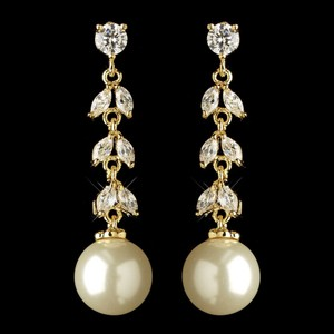 Elegance By Carbonneau Gold Plated Cz And Freshwater Pearl Earrings