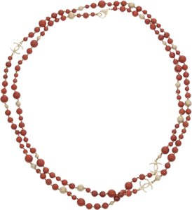Chanel Chanel 16A Red CC Logo Beaded Necklace