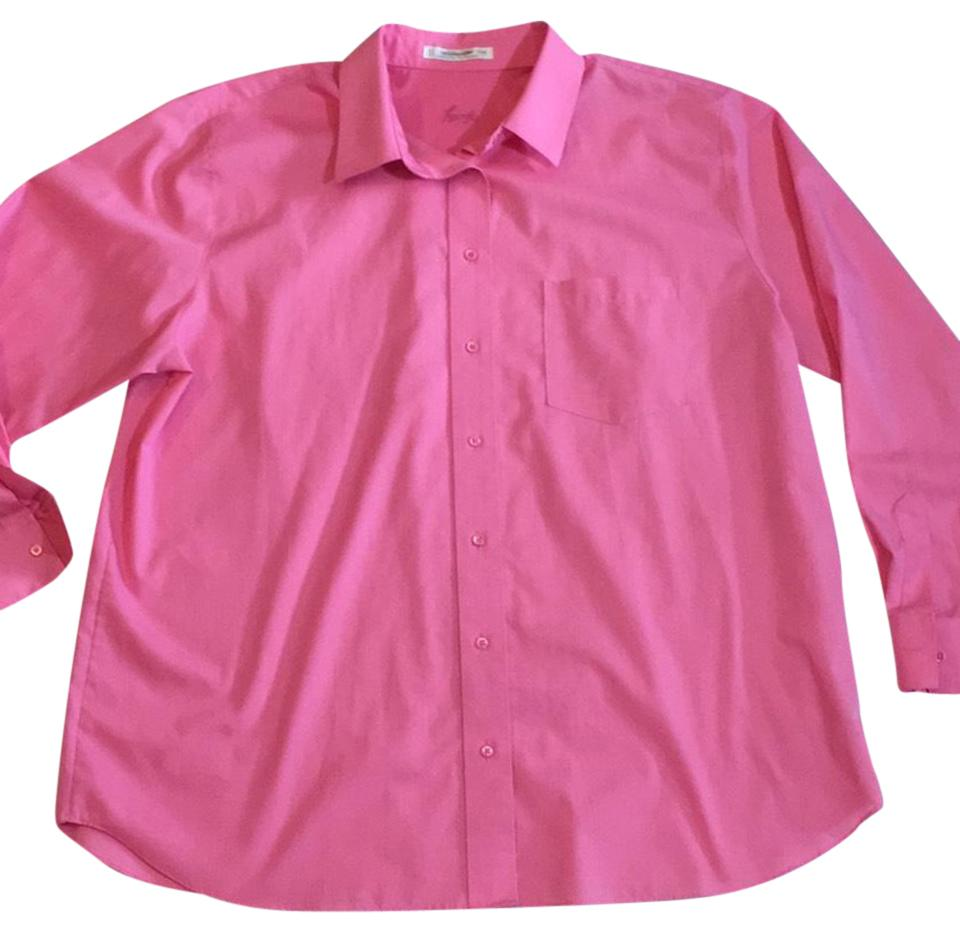 Foxcroft pink no iron blouse shirt button down top size 16 for Best no iron shirts
