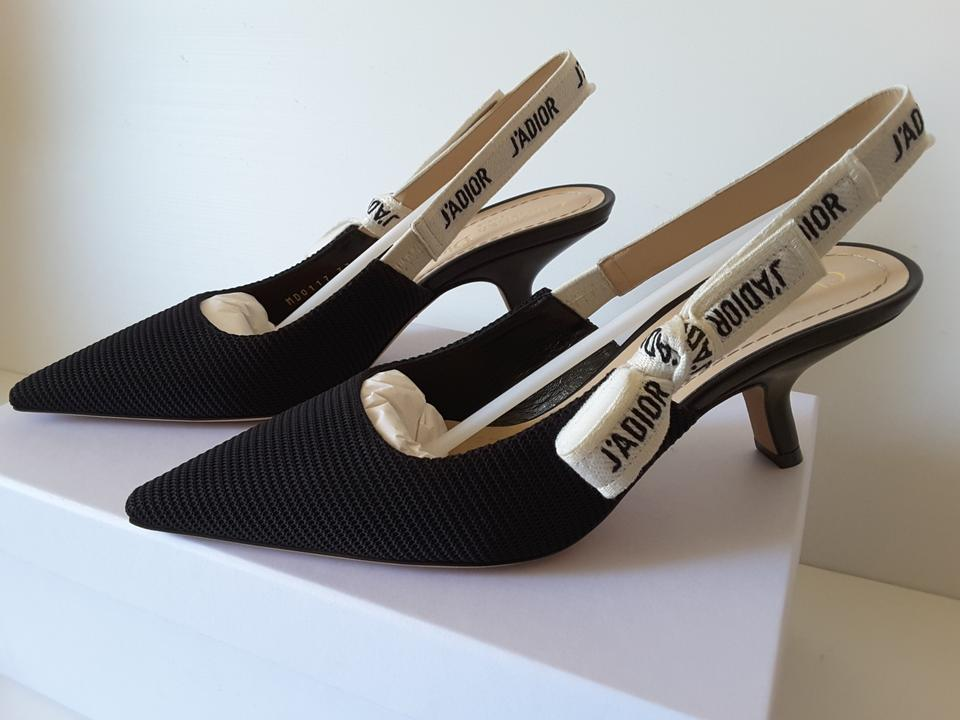99fca6e2105 Dior Black Fabric   Ribbon Slingback Pumps Size EU 39 (Approx. US 9 ...