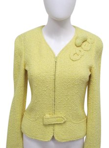Chanel Cropped Boucle/tweed Size 2 Yellow Jacket