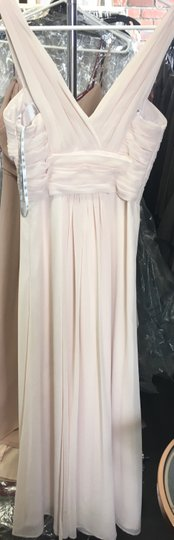 Monique Lhuillier Blush Chiffon Rebecca Bridesmaid/Mob Dress Size 0 (XS)