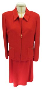 St. John ST-JOHN-COLLECTION-Red-Dress-w-Gold-Buckle-Belt-10-Red-Zip-Jacket-12