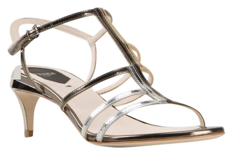 657b6894a01 Fendi Asymmetrical Colorblock Metallic Strappy Leather Sandals Size ...
