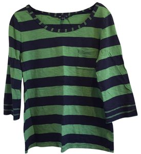 Gap Striped Pet And Smoke Free T Shirt Green/Navy