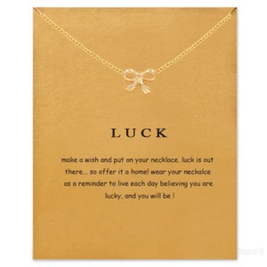 Other DF11 Gold Luck Tied Bow Necklace With Card