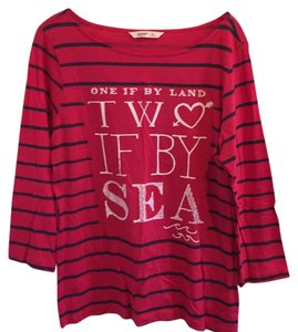 Old Navy Striped Pet And Smoke Free T Shirt Red