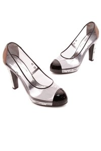 Chanel Transparent, black, silver Pumps