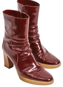 Tod's Leather Ankle Wood red Boots