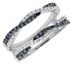 Other 14K White Gold Twisted Blue and White Diamonds Ring 0.55ct.