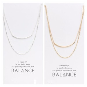 Other DF15 Gold & Silver Balance Happy Life Double Necklace With Card