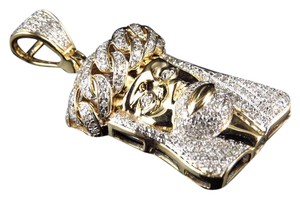 Other 10K Yellow Gold Crown Diamond 1.25 Inch Pendant Charm 0.85ct.