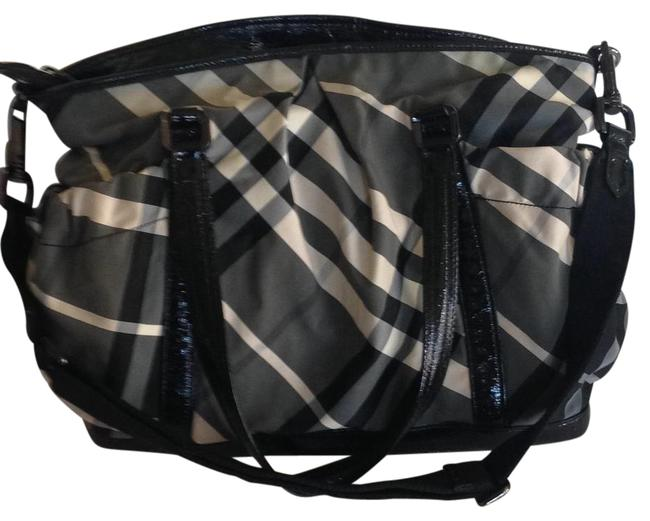 Item - Large with Change Pad and Cross Body Strap Beat Check/Black Gray Off White Nylon Diaper Bag