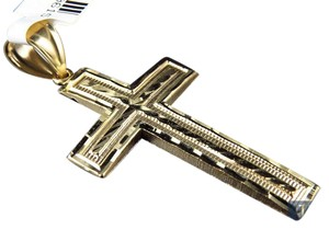 Other Solid 10K Yellow Gold Diamond Cut Cross 2.25 Inch Pendant Charm