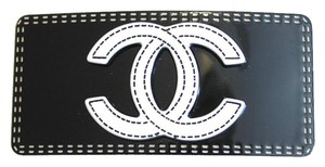 Chanel Large Black VIP Hair Barrette White CC