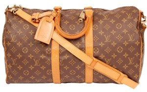 Louis Vuitton Monogram Keepall Canvas Leather Brown Travel Bag