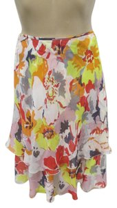Valentino Silk Layered Ruffle Size 8 Skirt Multi Colored - Floral
