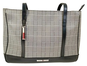 Tommy Hilfiger Vintage Houndstooth Canvas Faux Leather Key Chain Tote in Black