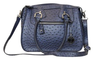 London Fog Faux Leather Ostrich Satchel in Navy