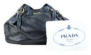 Prada Side Zip Crackle Pebbled Leather Shimmer Hobo Bag