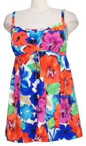 Swim Solutions Multicolor Floral Empire Waist Tummy Control Swimdress Swimsuit 18W