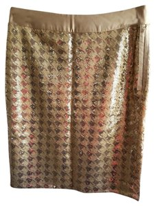 The Limited Sparkle Sequin Satin Dressy Skirt Gold Sequin