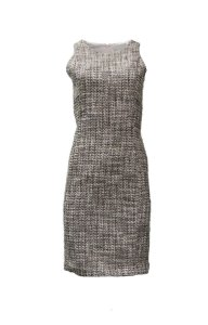 Amy Matto Tweed Sheath Lined Xip Knee Length Dress