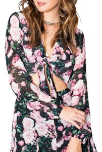 Show Me Your Mumu Tie Front Long Sleeve Boho Floral Printed Summer Chic Top Pink