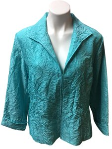 Chico's New Crinkled Button Down Shirt Blue