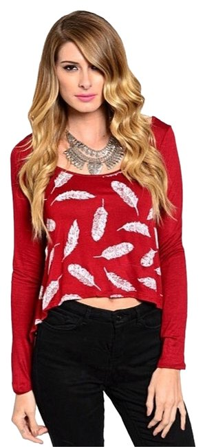 Preload https://item1.tradesy.com/images/unknown-top-red-with-white-feathers-2102255-0-1.jpg?width=400&height=650
